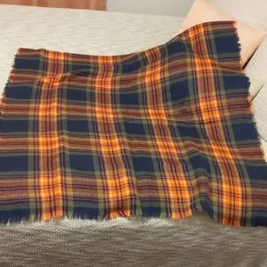 Orange and navy plaid scarf/wrap